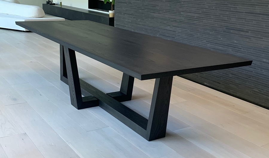 Details About Custom Black Ash Wood 10 Top Dining Table Made In Usa New