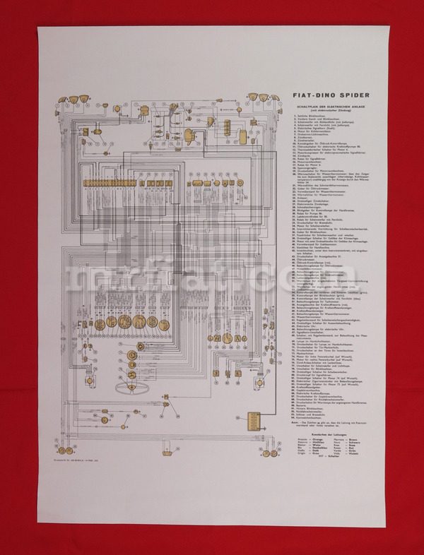 fiat dino 2000 spider wiring diagram 59x84 cm new ebay. Black Bedroom Furniture Sets. Home Design Ideas